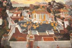 O templo que pinta Banguecoque Tailândia ramakien Fotografia de Stock