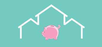 O tempo é moneyInvestment ou economia para a casa Imagens de Stock Royalty Free