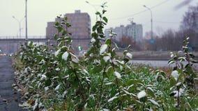 O tempo anormal é neve molhada sobre a estrada urbana filme