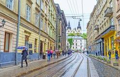 O tempo chuvoso em Lvov fotos de stock royalty free