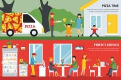 O tempo da pizza e a Web perfeita do conceito do plano de serviço vector a ilustração Entrega & interior do restaurante da pizari Imagem de Stock Royalty Free