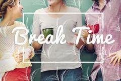 O tempo do café do chá da ruptura relaxa o conceito imagens de stock royalty free