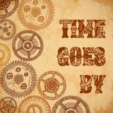 O tempo do cartaz do vintage vai perto com as engrenagens do maquinismo de relojoaria no fundo de papel envelhecido do grunge ilustração stock