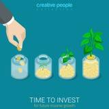 O tempo isométrico liso do vetor 3d investir cresce o negócio começa acima Imagem de Stock Royalty Free