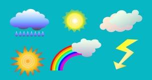 O tempo objeta o clipart ilustração das nuvens, do sol, do arco-íris, da chuva e do flash para a previsão de tempo Fotos de Stock Royalty Free