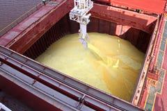 O terminal da carga para carregar a carga de maioria do enxofre químico aos portadores de maioria do mar que usam uma costa crane Fotografia de Stock
