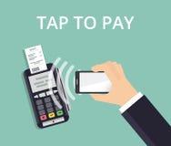 O terminal da posição confirma o pagamento do smartphone Pagamento e conceito móveis da tecnologia de NFC Ilustração lisa do esti Imagem de Stock