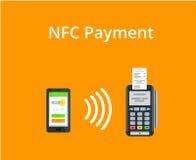O terminal da posição confirma o pagamento do smartphone Pagamento e conceito móveis da tecnologia de NFC Ilustração lisa do esti Fotografia de Stock Royalty Free