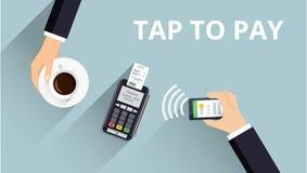 O terminal da posição confirma o pagamento do smartphone Pagamento e conceito móveis da tecnologia de NFC Ilustração lisa do esti Imagens de Stock
