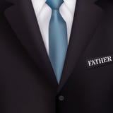O terno dos homens com fundos de um realismo do laço-estilo do azul para convites, para o dia de pai do feriado Fotografia de Stock Royalty Free