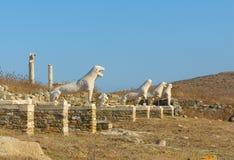 O terraço dos leões, Delos, Greece Imagens de Stock Royalty Free