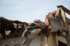 O terremoto destrói fotografia de stock