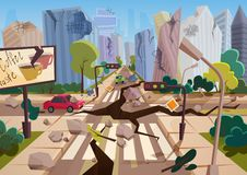 O terremoto realístico com as fendas à terra nos desenhos animados arruinou casas urbanas da cidade com quebras e danos Disastre  ilustração do vetor