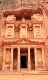 O Tesouraria em PETRA, cidade perdida da rocha de Jordão. Imagens de Stock