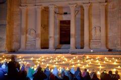 O Tesouraria em PETRA na noite, Jordão - 2 Imagens de Stock Royalty Free