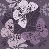 O teste padrão à moda com as silhuetas da borboleta na flor floresce Imagem de Stock