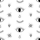 O teste padrão abstrato com os olhos abertos e pisc, diamantes, rasga Fundo na moda bonito Ilustração do Vetor