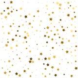 O teste padrão abstrato do ouro de queda aleatório stars no backgroun branco Fotografia de Stock Royalty Free