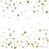O teste padrão abstrato do ouro de queda aleatório stars no backgroun branco Foto de Stock Royalty Free