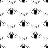 O teste padrão abstrato preto e branco com aberto e pisc eyes Imagem de Stock Royalty Free