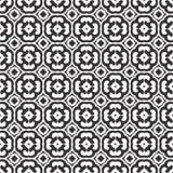 O teste padrão abstrato, sem emenda preto e branco seguiu pelo projeto do trevo de quatro folhas, symmetricl ilustração royalty free