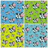 O teste padrão amigável bonito da vaca ajustou 4 ilustração stock