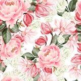 O teste padrão bonito da aquarela com rosas, peônia e magnólia floresce ilustração royalty free