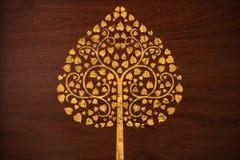 O teste padrão cinzela a árvore do ouro na textura de madeira Imagem de Stock Royalty Free