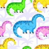 O teste padrão coloriu dinossauros imagens de stock