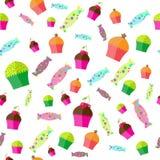 O teste padrão com doces e queques Fotografia de Stock