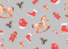 o teste padrão da aquarela com Natal brinca em um fundo colorido imagens de stock royalty free