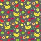 O teste padrão da garatuja do fruto, colorida Fotos de Stock