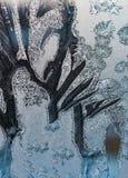 O teste padrão da geada no vidro de janela no inverno, geada, gelo, macro, close up, Fotos de Stock Royalty Free