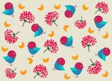 O teste padrão das crianças com pássaros Imagens de Stock Royalty Free