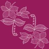 O teste padrão das folhas e de flores entrega a ilustração esboçada tirada Fotografia de Stock Royalty Free