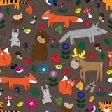 O teste padrão de animais da floresta Imagens de Stock Royalty Free