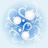 O teste padrão de ano novo com esferas brancas Fotos de Stock