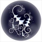 O teste padrão de ano novo em um fundo azul ilustração stock