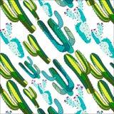 O teste padrão diagonal do verde erval floral tropical sofisticado bonito brilhante do verão de Havaí do mexicano de uma pintura  ilustração royalty free