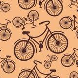 O teste padrão do moderno retro denominou a bicicleta em um fundo do café Imagens de Stock Royalty Free