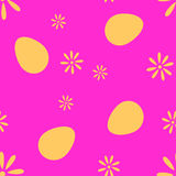 O teste padrão do pixel dos ovos e das flores ilustração do vetor