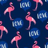 O teste padrão do verão com flamingo bonito e o texto nublam-se no fundo escuro Ornamento para a matéria têxtil e o envolvimento  ilustração royalty free