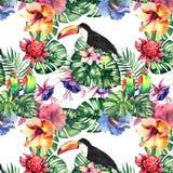 O teste padrão erval floral tropical colorido bonito brilhante bonito do verão de Havaí de flores tropicais hibiscus, palmas sae, Imagem de Stock Royalty Free