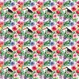 O teste padrão erval floral tropical colorido bonito brilhante bonito do verão de Havaí de flores tropicais hibiscus, palmas sae, Imagem de Stock