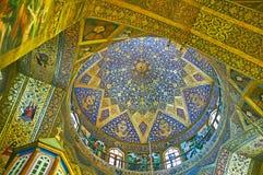 O teste padrão estelar da abóbada na catedral de Vank, Isfahan, Irã Imagem de Stock Royalty Free