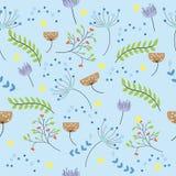 O teste padrão floral bonito sem emenda misturou com o diferente de flores pequenas no fundo azul ilustração royalty free