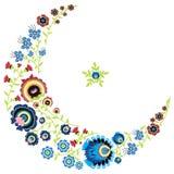 O teste padrão floral popular polonês na lua e a estrela dão forma no fundo branco Fotografia de Stock Royalty Free