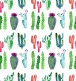 O teste padrão floral tropical mexicano maravilhoso bonito brilhante do verde do verão de um cacto colorido com teste padrão vert ilustração royalty free