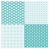 O teste padrão geométrico sem emenda do grupo dos fundos com corações Vector o azul Foto de Stock Royalty Free