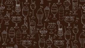 O teste padrão linear das sobremesas, do gelado e dos doces Imagem de Stock Royalty Free